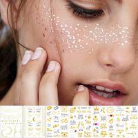 dövme desen altın toptan satış-1 sayfalık Altın Gümüş Yüz Dövme Su Geçirmez Bronzlaştırıcı Çiller Makyaj Vücut Sanatı Flaş Dövme Etiket Göz Çıkartmaları Gelin Kabile Parti T190628