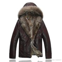 ingrosso cappotti di cuoio di lusso-Mens Leather Jacket reale Raccoon Fur Coats Inverno Abbigliamento shearling Top addensare Warm Cappotti Neve Clothes Windbreaker lusso