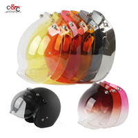 Wholesale red yellow black motorcycle helmet for sale - Group buy capacete casco vintage retro motorcycle helmet snap bubble shield visor shield glass open face helemt glasses