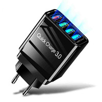 4USB Ports QC 3.0 Wall Charger 3.1A Quick Charger For Iphone Samsung S10 Plus Fast Charging EU US Plug Travel Charger