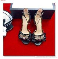 kaplanmış kadın topuklu toptan satış-İlkbahar / yaz yeni kadın Kapak Topuk sandalet, Altın kaplama retro arı desen ayakkabı, sokak tarzı moda Yüksek topuklu sandalet