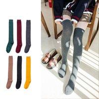 siyah elbise çorap toptan satış-Sonbahar Kadın Kızlar Uzun Çorap Nefes Diz Üzerinde Uyluk Yüksek Elastik Pamuk Çorap Elbise Çorap Siyah Kırmızı Gri