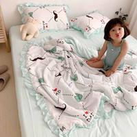 colchas do bebê dos desenhos animados venda por atacado-Colcha de verão Sub-resfriado INS Cobertor Dos Desenhos Animados para Casa Bebê Lavado Algodão Laço Verão Quilts 4 pcs Set