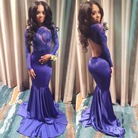 Wholesale purple sheer bags for sale - Prom DressesHot selling high collar long sleeved jacket transparent decals sexy back zipper hollow fish tail bag buttocks customized package