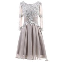 Wholesale bride made dress pink for sale - Group buy Elegant Boho Silver Mother Of The Bride Dresses Lace Chiffon Knee Length Long Sleeves Plus Size Wedding Guest Dress Short Evening Gowns