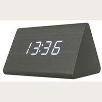ahşap masa saatleri toptan satış-Led Dijital Siyah Ahşap Üçgen Çalar Saat Masa Masa Saati Ses Kontrolü Ile Sıcaklık Elektronik Saatler Y19062103