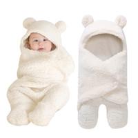 bebek battaniye kundaklama örtüsü toptan satış-Sonbahar ve Kış 2019 Yenidoğan Bebek Erkek Kız Sevimli Pamuk Peluş Battaniye Alma Wrap Kundak