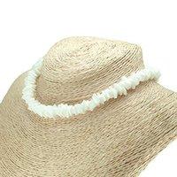 yazlık kolye toptan satış-Hawaii Puka Beyaz Istiridye Cips Kabuk Kolye Doğal Düzensiz Cips Seashell Gerdanlık Kolye Moda Yaz Plaj Takı