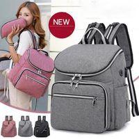 Wholesale travel backpack online - Earphone USB Diaper Bag Large Capacity Nappy Backpacks Travel Outdoor Maternity Mummy Bag With Feeding Bottle Bag LJJO6232