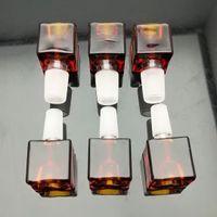 glasblöcke rot großhandel-Rotbrauner glas block blase kopf Großhandel Bongs Ölbrenner Rohre Wasserleitungen Glasrohr Ölbohrgeräte Rauchen Kostenloser Versand
