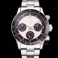 vintage uhrenarmbänder großhandel-Vintage Paul Newman japanischer Quarz Chronograph Edelstahl Nano Armband VK Luxus Herren Designer Uhren Armbanduhren