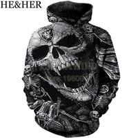 schädel sweatshirts für männer großhandel-Neue mode Oakland Raider Hoodies männer / frauen sweatshirt hoodie cool Schädel Gedruckt 3d pullover mit kapuze hip hop streetwear tops