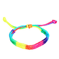 многоцветный радужный браслет оптовых-2019 New Bracelets Women Fashion Popular Multicolor Rainbow Fluorescent Color Braided Bracelets For Women M#1