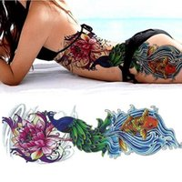 Wholesale tatoo fishing for sale - Group buy 10PC NEW cm Full Flower Large Arm Tattoo Sticker Fish Peacock Flower Temporary Body Paint Water Transfer Fake Tatoo Sleeve