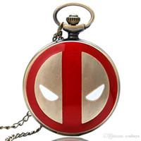 montres de garçons cool achat en gros de-Cool Bronze Rouge Deadpool Quartz Montre De Poche Garçons Fob Collier Chaîne Meilleur Cadeau D'anniversaire pour Enfants Rétro Vinatge Pendentif Reloj de bolsillo