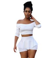 kırpılmış üst etek seti toptan satış-Yeni Moda Beyaz Kırpma Üst ve Etek Seti Yarım Kollu Seksi 2 Parça Set Kadın Slash Boyun Bodycon Iki Parçalı Kadın
