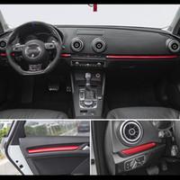 Wholesale center consoles resale online - Car Styling Center Console Dashboard Trim Car Door Decoration Cover Trim Carbon Fiber Sticker For Audi A3 V S3 Auto Accessories