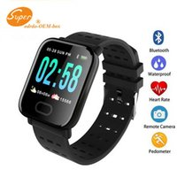 Wholesale water color meter resale online - A6 Fitness Tracker Wristband Smart Watch Color Touch Screen Water Resistant Smartwatch Phone with Heart Rate Monitor pk id115