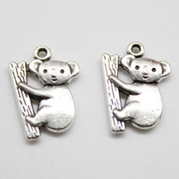 koala schmuck großhandel-2019 großhandel 100 teile / los Koala Tibet Silber charms anhänger Schmuck DIY Für Halskette Armband Ohrringe Retro Style 20 * 14mm