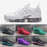 zapatos altos 16 al por mayor-Nike Tuned Air VaporMax TN Plus Pure Platinum Vm Air max shoes informales de marca famosa de alta qulity para mujer y hombre negro blanco rojo verde 16 colores zapatos EUR36-45