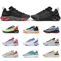 Wholesale black shoe for sale - Group buy React Element running shoes for men women top quality triple black Royal Tint Metallic Gold mens trainer sports sneakers runners