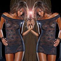 roupa interior de renda xxl venda por atacado-Mulheres Lace Alças ver embora Vestido G-string Nightwear Transparência Intimate Picardies Lingerie Pijamas Pijamas Underwear