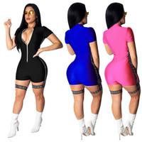 kadın fermuar atletler toptan satış-Kadın Tulumlar Gece Kulübü Tulum Yaz Bodycon Seksi V Boyun Fermuar Kısa Kollu Tek Parça Bodysuit Moda S-2XL 3 Renk satış A32109