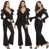 Wholesale stretch silk pants online - Spring new women s jumpsuit off the shoulder deep v sequins black sexy jumpsuit stand Stretch Color Pants Casual Slim