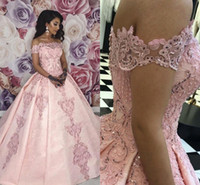 Wholesale dresses made sweets for sale - Group buy Full Lace Pink Evening Dresses Elegant Off Shoulders A Line Pageant Vestidos Prom Gowns Sweet Quinceanera Dress Appliqued BC2348