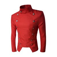 мужские пиджаки оптовых- Mens Vintage dance club Style Business top Coats Dress Blazers Casual Stand Collar Jackets Male Slim Fit Suit clothes