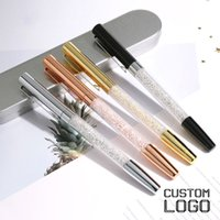 Wholesale ballpoint pens custom logo for sale - Group buy 1pc Fashion Crystal Gel Pen Metal Engraved Pen New Creative Signature Daily Office Student Stationery Gift Laser Custom Logo