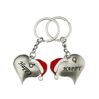 Wholesale heart shaped key chain ring for sale - Group buy Heart Shape Key Buckle Lovers Christmas Hat Modeling Keys Ring Festival Man Woman Decoration Chain Hot Selling xx L1