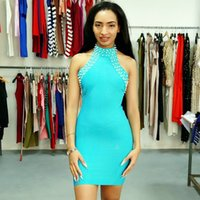 ingrosso bendaggio del diamante-Pub O-collo Diamanti Empire Backless Rivet Mini Vendita calda Fashion Bandage Dress Celebrity Sexy Women Body Con Dresses