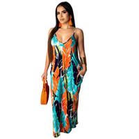vestido de praia maxi de algodão venda por atacado-19ss designer de verão mulheres vestidos de praia de algodão vestidos coloridos sexy floral vestidos casuais vestidos de cinta de espaguete