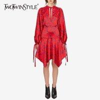 bonne tenue achat en gros de-TWOTWINSTYLE Robe Asymétrique Imprimée Femelle Lanterne À Manches Longues Taille Haute Lace Up Femmes Robes Automne Belle Mode Pop