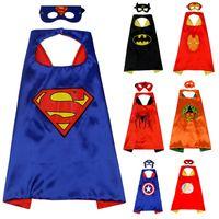 superheld robin großhandel-31 Styles Halloween Geschenk L70 * 70cm Kinder Superheld Umhänge und Masken - Spiderman Flash Supergirl Batgirl Robin für Kinder Umhänge mit Maske
