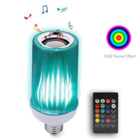 Wholesale music speaker square resale online - New Style RGB Mixed White LED Music Lamp with Updated Remote Control Superior Stereo Sound Bluetooth Bulb Speaker Upside Down Light
