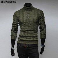 lã verde pulôver venda por atacado-LEDINGSEN 2018 Mens malha gola de lã Sweater Casual Exército Verde Knitting Preto Slim Fit preto de malha de lã capuz