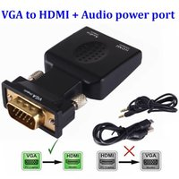 Wholesale micro pc hdmi for sale - Group buy VGA Male to HDMI Female Converter Lead Adapter with Audio Output Cable Micro power port P Signal Output For HDTV PC Laptop