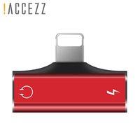 cabo de carregamento duplo venda por atacado-! Accezz dupla iluminação carregador de chamada de escuta adaptador para iphone x 8 7 plus xs max xr adaptador de carga cabo divisor aux
