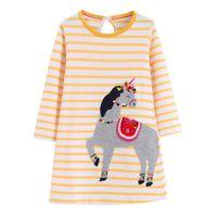Wholesale leopard print dresses for kids for sale - Group buy Girls Unicorn Appliqued Princess Dress Long Sleeve Cotton Designer Clothes A line Dress for Kids Clothing