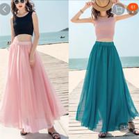 ingrosso lunghe gonne estive rosa per le donne-15 Gonna lunga tinta unita Summer Beach Boho Skirt Nero Grigio Verde Blu Rosso Viola Giallo Rosa Bianco Donna