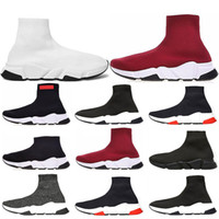 Wholesale cotton football socks online - Speed Trainer Luxury Brand Shoes red grey black white Flat Classic Socks Boots Sneakers Women Trainers Runner size