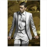 pantalones de satén para hombres al por mayor-Custom Silver Grey Satin Men Suit Slim Fit Skinny Simple Stage Prom Outfit Blazer Hombres Trajes de 3 piezas (Chaqueta + Pantalones + Chaleco)