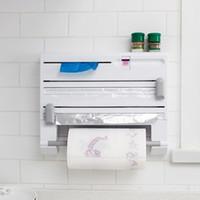 toallas funcionales al por mayor-Montado en la pared de la cocina Estante de almacenamiento Multi-funcional 6 en 1 Película de aluminio Toallita de papel Envoltura Cortador Especias Tarro Titular Estante de cocina Estante