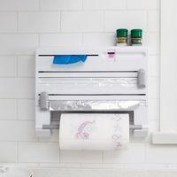 ingrosso portasciugamani da cucina-Scaffale da cucina a muro multifunzionale 6 in 1 pellicola di alluminio Porta asciugamani di carta