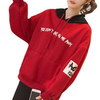 корейская японская мода оптовых-Korean Fashion Stitching Letter Print Loose Hoodies Women Winter Japanese Lolita Style Thicken Black Red Sweatshirt Schoolgirl