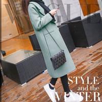 casacos de mulheres de moda de inverno coreano venda por atacado-Mulheres Casaco de inverno Coreano 2019 Moda Vintage Misturas de Lã Coats Mulheres Turn-down Collar Magro Formal Longo Sobretudo