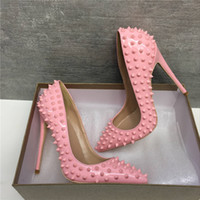 Wholesale desiger shoes resale online - plus size to origin package shiny red bottom shoes gold rivets spikes desiger high heels genuine leather pointed stiletto heels