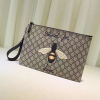 Wholesale tiger clutch resale online - Top Quality Luxury Celebrity Design Letter Embroidery Bee Tiger Canvas Clutch Genuine Leather Canvas Handbag